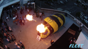 Flaming Bee (vehicle) shot from a drone high above Out of the Box event, Sept 2014