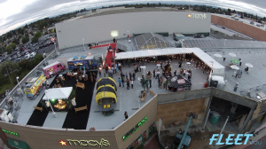 crowd shot from a drone high above Out of the Box event, Sept 2014