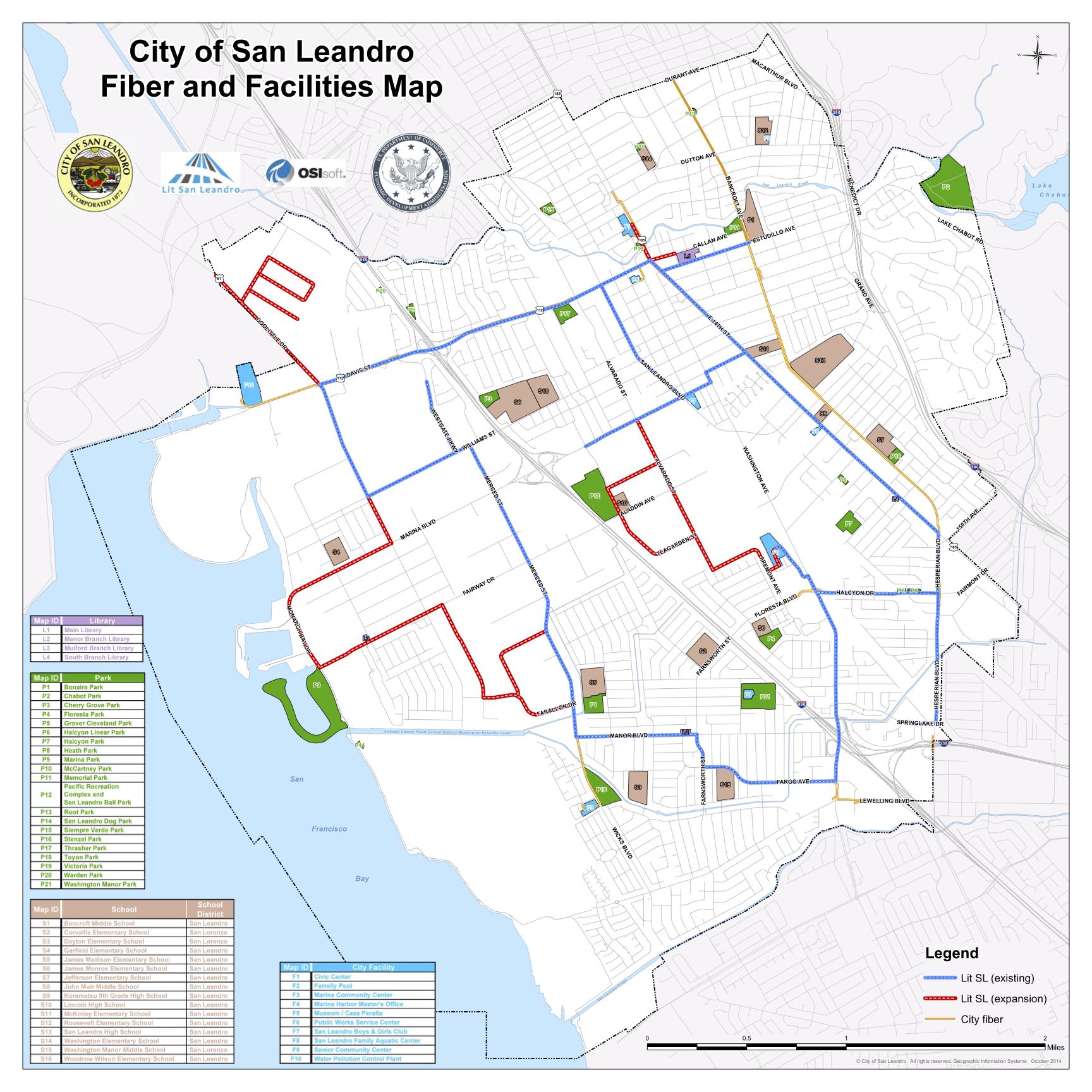 City of San Leandro Fiber and Facilities Map